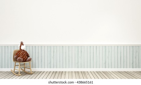 giraffe doll on rocking chair in kid room-3d rendering