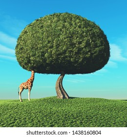 Giraffe with the head into the crown of a tree. This is a 3d render illustration