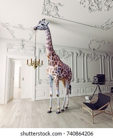 the giraffe hold the chandelier in the luxury decorated interior. 3d rendering elements and photo mixed