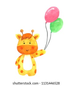 Giraffe holding balloon, Cartoon watercolor on white background , Hand drawn character for Kids, Greeting Card , Cases design, Postcards, Product, Notebook and more