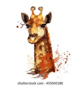 Giraffe illustration with splash watercolor textured