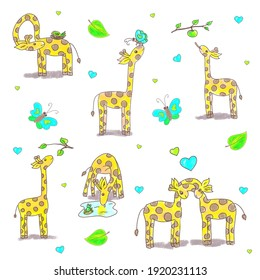 Giraffe life - funny cartoon giraffes in different situations. Cute hand drawn illustration set, pattern, perfect for kids.