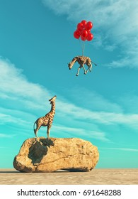 A giraffe standing on a large rock and red balloons flying with baby giraffe. This is a 3d render illustration