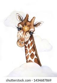 Giraffe watercolor illustration. Giraffe hand drawing. Giraffe character in the clouds