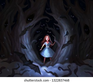 Girl alone has lost in the forest