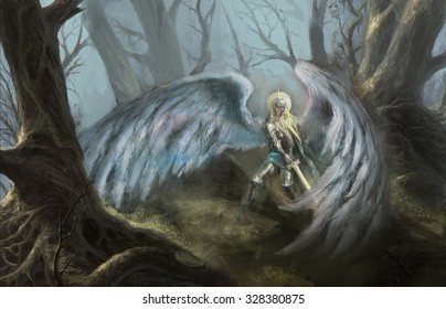 girl angel in forest