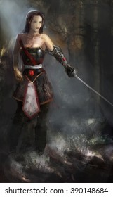 girl in armor with sword