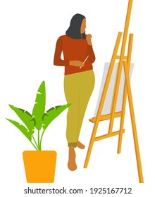 Girl artist with a brush to paint. Easel near the flower. Illustration.