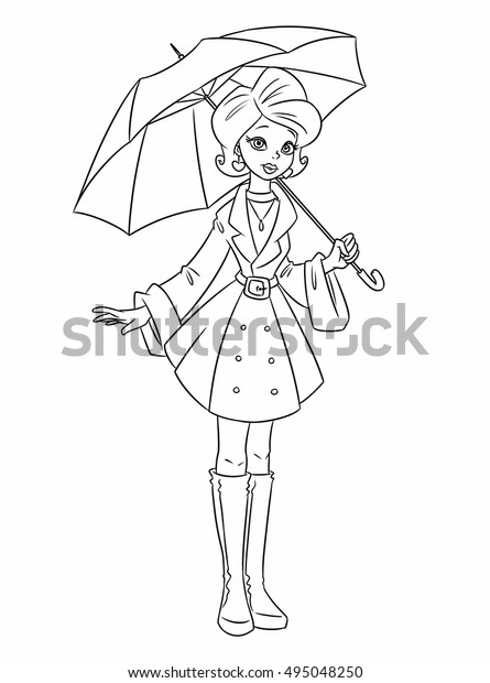 Girl Autumn Umbrella Coloring Pages Cartoon Stock Illustration 495048250