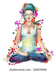 A girl with blue hairs meditating in the lotus position. Raster illustration. Hand drawn by watercolor