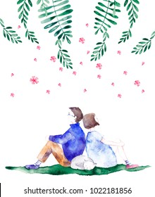 Girl and boy sitting near each other -illustration. Love card. Colorful abstract texture. Watercolor postcard with flowers around boy and girl.