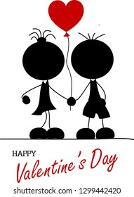 Girl and boy together with a red heart