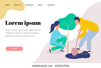 Girl and boy volunteers plant a tree. Landscaping the planet. flat modern illustration. Website template, landing page
