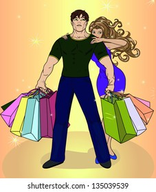 The girl with boyfriend make purchases