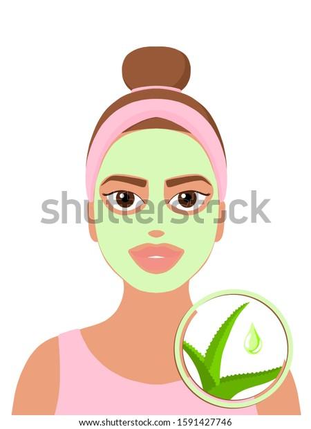 Girl Brown Hair Aloe Facial Mask Stock Illustration 1591427746