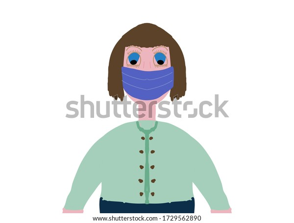 Girl with brown hair wearing a blue mouth mask. Room for copy.