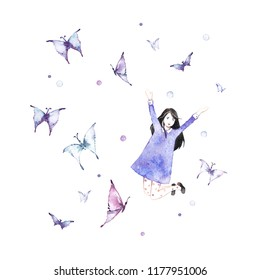 Girl with butterflies. Beautiful girl - illustration.