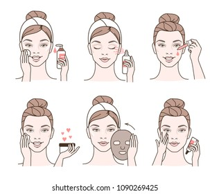 Girl cares about her face. Different facial treatment procedures. Line style illustration.