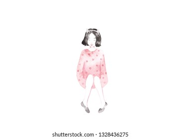 Girl with cat. Cute illustration with girl and her friend on white background