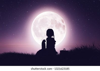 Girl with the cat on the cliff looking to the moon,3d rendering