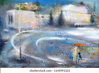 A girl and a cat under the red umbrella, oil painting cityscape
