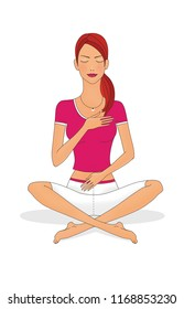 A girl with closed eyes sits cross-legged and with her hands on her chest and stomach. Isolated on white background