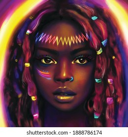 girl with colourful ribons on her head illustration
