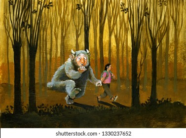 girl conducts in the wood her own fear that has the the form of a sympathetic nervous system hair surreal painting