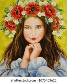 The girl with the crown of flowers on her head