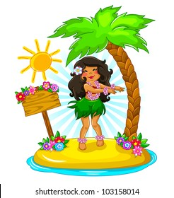 girl dancing hula on a tropical island (vector available in my portfolio)