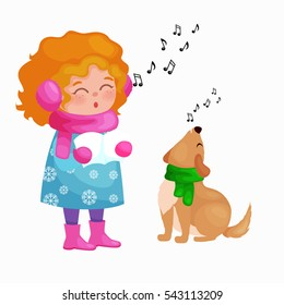 girl and dog singing christmas songs jingle bells music on winter holiday fun illustration - Animals Singing Christmas Songs