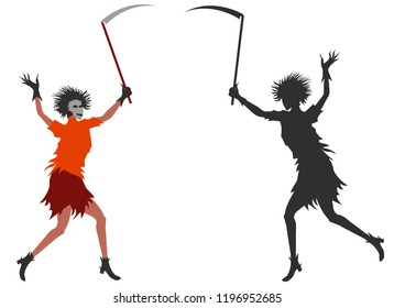 Girl dress in halloween costume with mask on the face and scythe in hand. Fancy dress - Zombie woman-death. Detailed color image and silhouette. Raster version.
