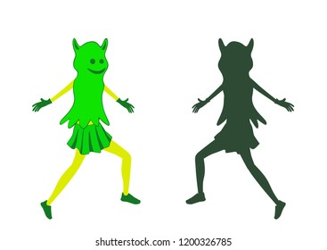 Girl dress in halloween costume with mask on the face. Fancy dress of ghost. Ghost silhouette.