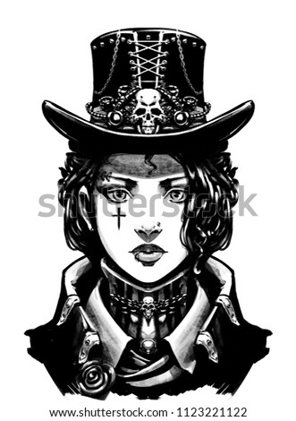 girl dressed ste unk style stock illustration royalty free stock  girl dressed in ste unk style