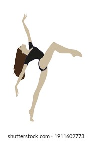 Girl dressed in a swimsuit dancing upside down
