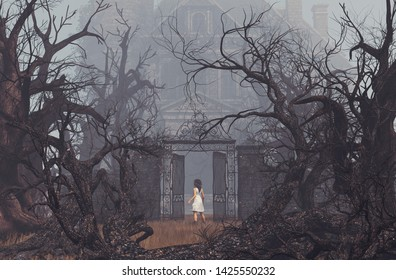 Girl enter to haunted manor,3d illustration