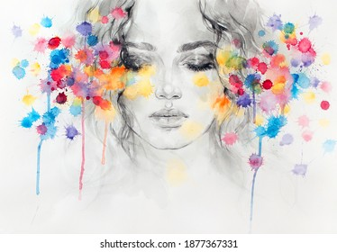 girl face. fashion illustration. watercolor painting