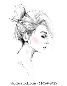 Girl face profile with bun hairstyle black and white pencil drawing with pink blush watercolor fashion portrait illustration on white background.