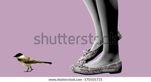 girl feet following a little bird over a purple background, 3D illustration, raster illustration