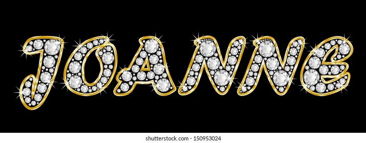 The girl, female name JOANNE made of a shiny diamonds style font, brilliant gem