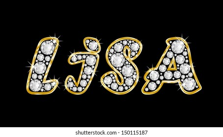 The girl, female name LISA made of a shiny diamonds style font, brilliant gem stone letters building the word, isolated on black background.