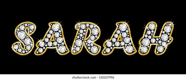 The girl, female name SARAH made of a shiny diamonds style font, brilliant gem stone letters building the word, isolated on black background.