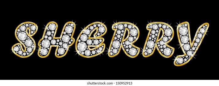 The girl, female name SHERRY made of a shiny diamonds style font, brilliant gem stone letters building the word, isolated on black background.
