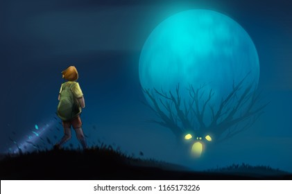 girl with flashlight standing on the hill look at to scary trees, halloween concept, digital illustration art painting design style.