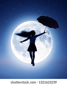 Girl flying with an umbrella to the moon,3d rendering