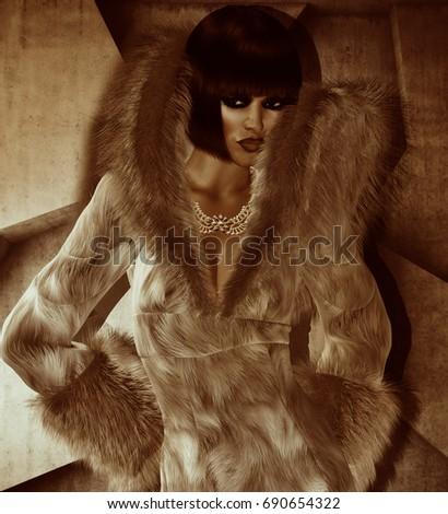Girl Fur Hood Fashion Accessories Modern Stock Illustration