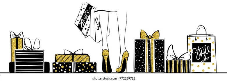 Girl in gold high heels surrounded by shopping bags, gift boxes.Fashion illustration.Female legs in shoes.Glitter Design for sale,discount, advertising, store.Vogue style.Women with packages.