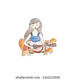 girl with guitar surrounded by cats