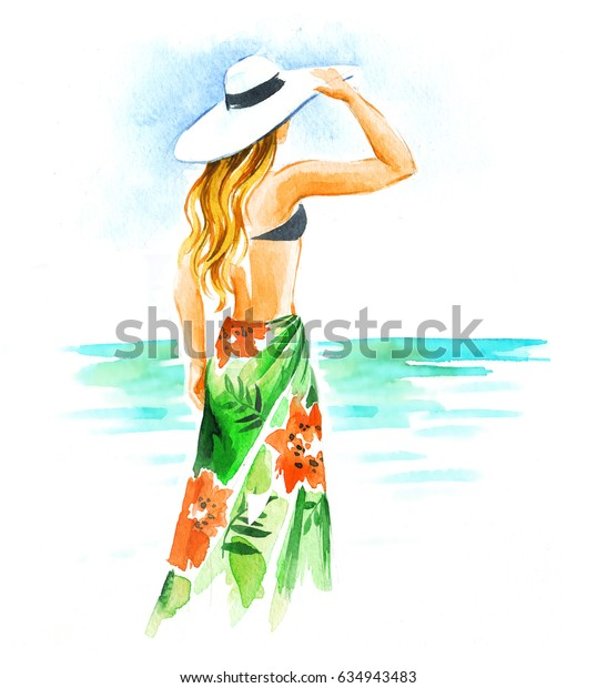 Girl in hat and swimsuit in the beach, watercolor illustration on white background.