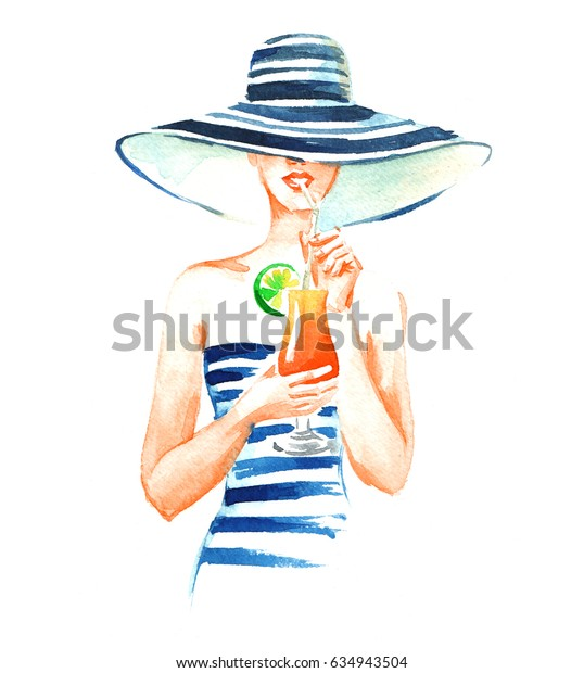 Girl in hat and swimsuit with cocktail, watercolor illustration on white background.